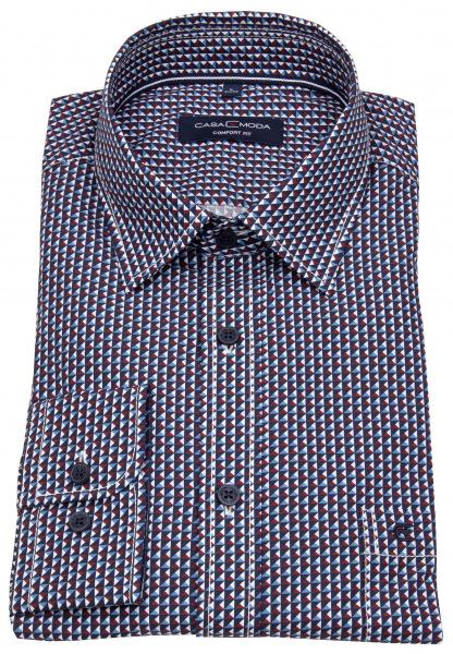 Casa Moda Hemd - Comfort Fit - Print - blau / rot / weiß - 413761100 400