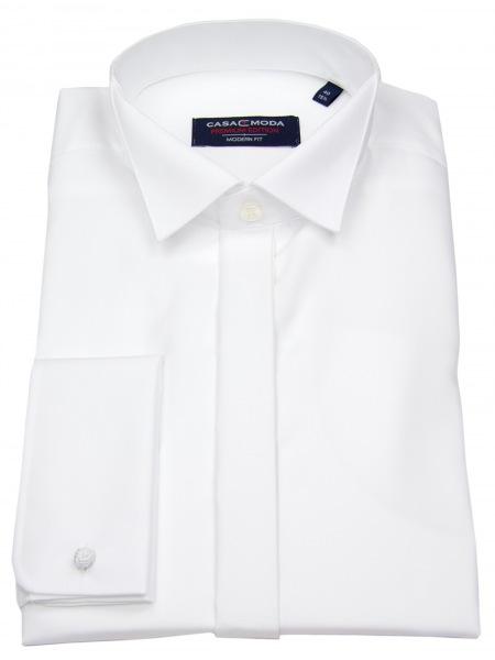 Casa Moda Hemd - Modern Fit - Kläppchen - Umschlagmanschette - weiß - 005550 0