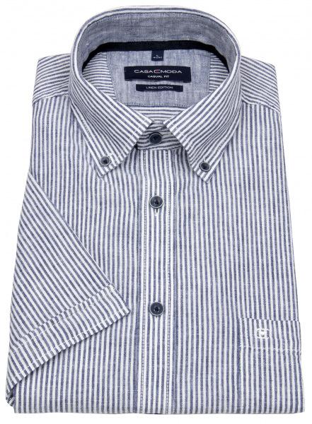Casa Moda Kurzarmhemd - Casual Fit - Leinen - Button Down- Streifen - blau - 913655900 101