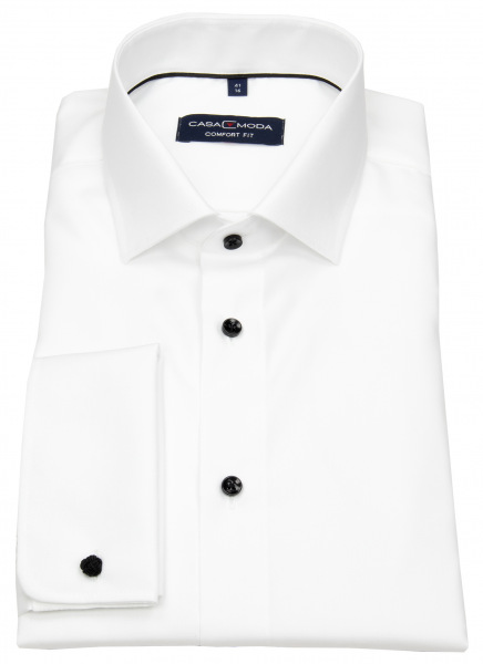 Casa Moda Smokinghemd - Comfort Fit - Kontrastknöpfe - UMA - weiß - ohne OVP - 005380 001