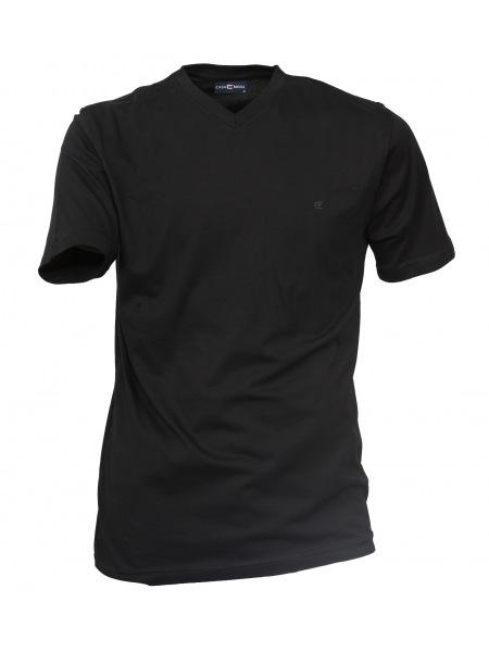 Casa Moda T-Shirt Doppelpack - V-Neck - schwarz - 092183 80
