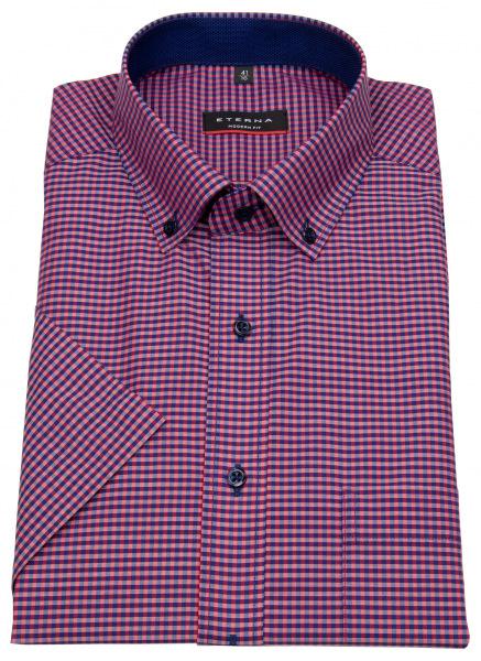 Eterna Kurzarmhemd - Modern Fit - Button Down - dunkelblau / rot - 8917 C143 58