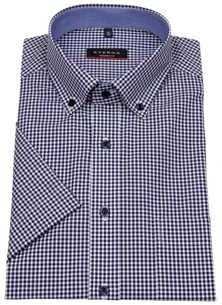 Eterna Kurzarmhemd - Modern Fit - Button Down - dunkelblau / weiß - 8917 C143 16