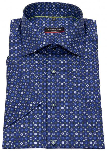 Eterna Kurzarmhemd - Modern Fit - Muster - blau / blau - 3457 C19K 18