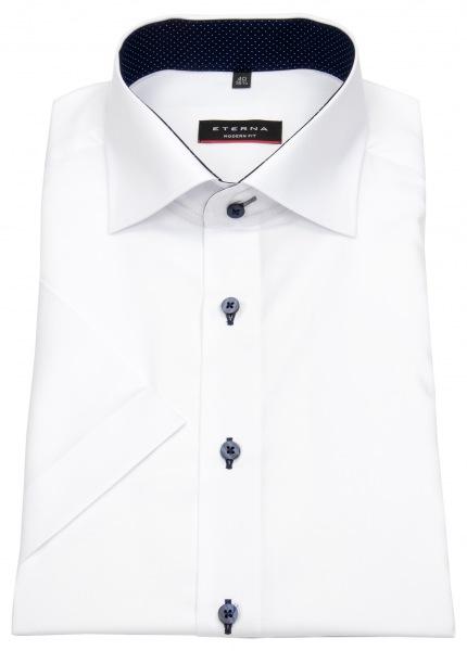 Eterna Kurzarmhemd - Modern Fit - Oxford - Kontrastknöpfe - weiß - 8100 C13K 00