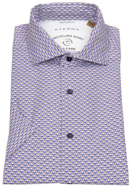 Eterna Kurzarmhemd - Regular Fit - Button Down - We Care - blau / beige - 2456 WS72 16