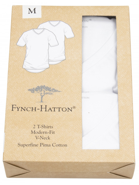 Fynch-Hatton T-Shirt - Doppelpack - Modern Fit - Rundhals - weiß - 0000 1100 000