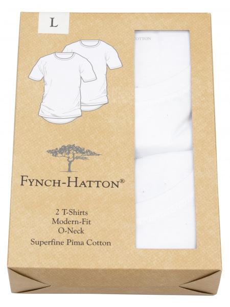 Fynch-Hatton T-Shirt - Doppelpack - Modern Fit - V-Neck - weiß - 0000 1200 000