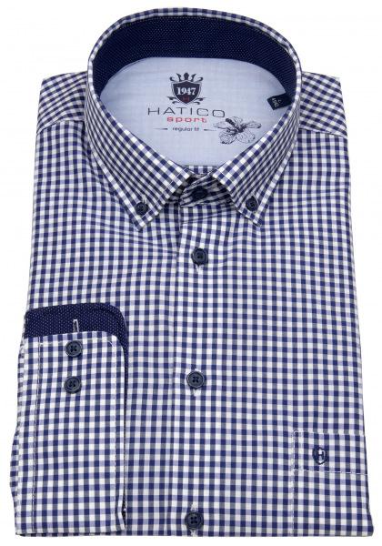 Hatico Hemd - Regular Fit - Button Down - blau / weiß - 3419-31202 156