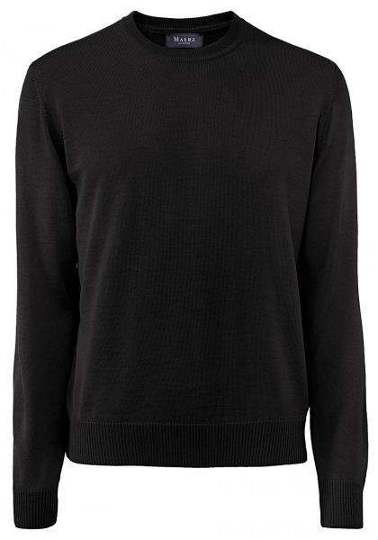 MAERZ Muenchen Pullover - Comfort Fit - Rundhals - Merinowolle - schwarz - 490500 595