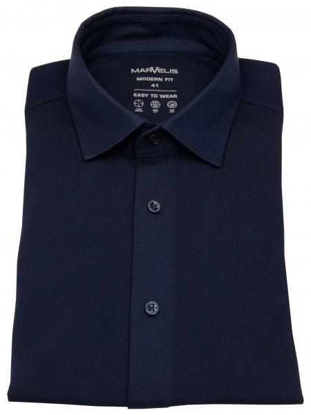 Marvelis Hemd - Modern Fit - Easy To Wear Jersey - dunkelblau - 7264 84 18