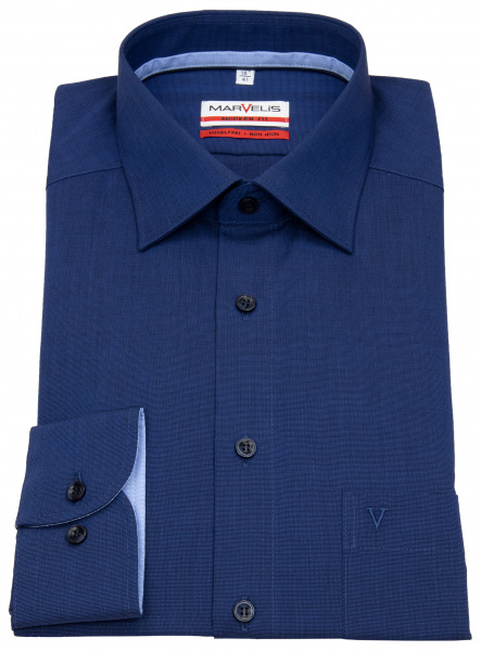 Marvelis Hemd - Modern Fit - Patch - blau - 7200 84 18