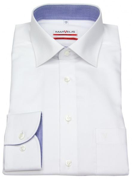Marvelis Hemd - Modern Fit - Patch - Struktur - weiß - 4767 64 00