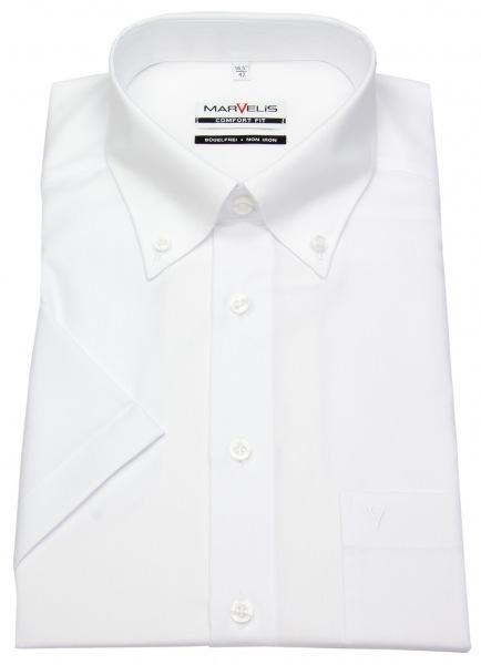 Marvelis Kurzarmhemd - Comfort Fit - Button-Down Kragen - weiß - 7971 12 00