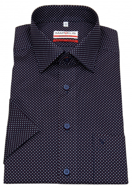 Marvelis Kurzarmhemd - Modern Fit - Print - dunkelblau / weiß / rot - 7284 72 35