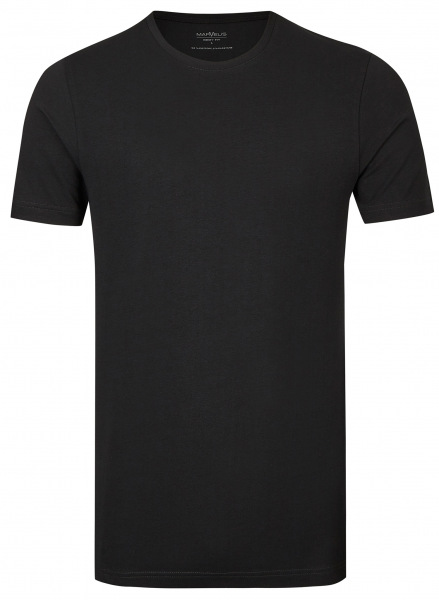 Marvelis T-Shirt Doppelpack - Body Fit - Rundhals - schwarz - 2822 00 68