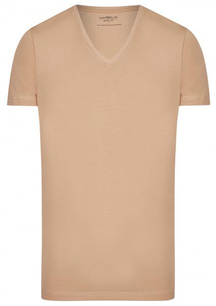 Marvelis T-Shirt Doppelpack - Body Fit - V-Ausschnitt - caramel - 2820 00 24