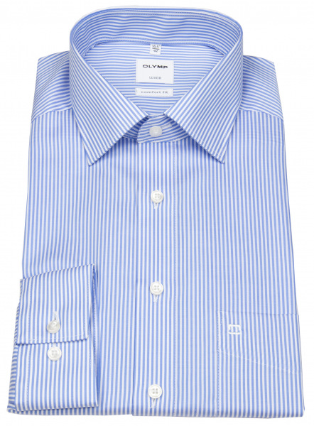 OLYMP Hemd - Luxor Comfort Fit - Twill - Streifen - hellblau / weiß - 0726 64 11