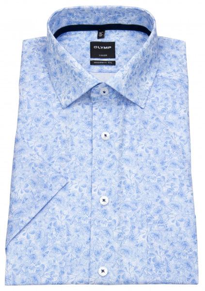 OLYMP Kurzarmhemd - Luxor Modern Fit - Muster - hellblau / weiß - 1211 72 11