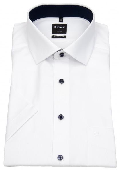 OLYMP Kurzarmhemd - Modern Fit - Faux Uni Struktur - weiß - 0400 12 00
