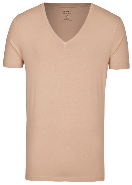 OLYMP Level Five Body Fit - T-Shirt - tiefer V-Ausschnitt - caramel - 0804 12 24