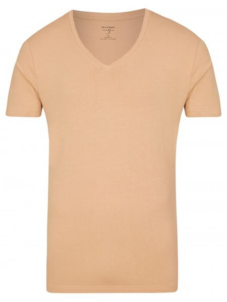 OLYMP Level Five Body Fit - T-Shirt - V-Ausschnitt - caramel - 0801 12 24