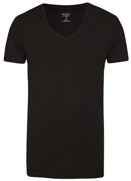 OLYMP Level Five Body Fit - T-Shirt - V-Ausschnitt - schwarz - 0801 12 68