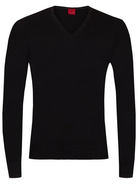 OLYMP Pullover - Level Five - V-Ausschnitt - Merinowolle - schwarz - 0151 10 68
