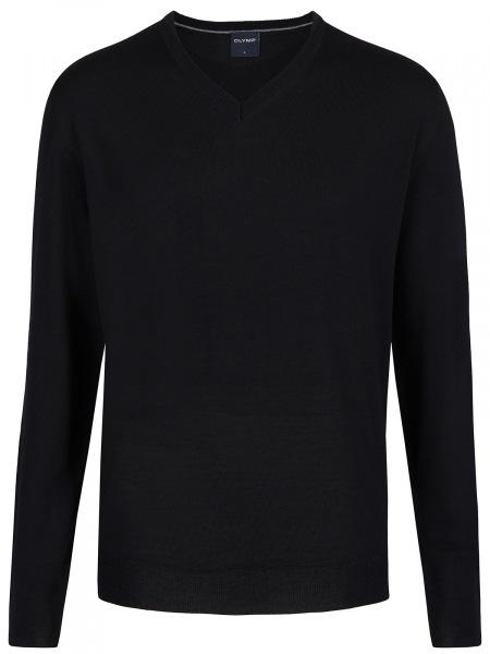 OLYMP Pullover - Merinowolle - V-Ausschnitt - schwarz - 0150 10 68