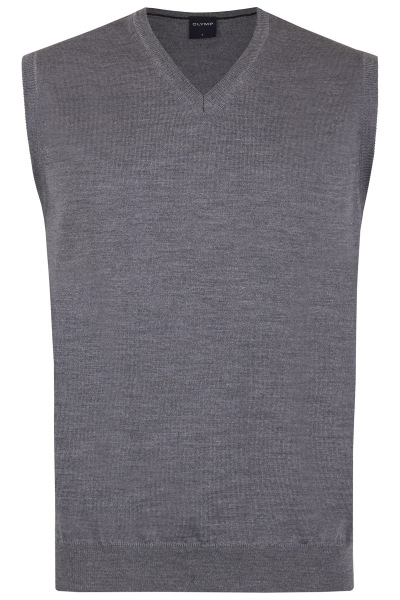 OLYMP Pullunder - Merinowolle - V-Ausschnitt - grau - 0150 50 63