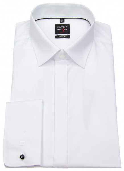 OLYMP Smokinghemd - Level Five Body Fit - Umschlagmanschette - weiß - ohne OVP - 1276 65 00