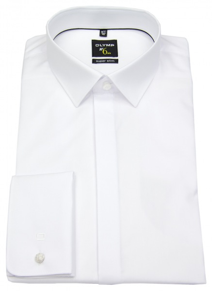 OLYMP Smokinghemd - No. Six Super Slim - Umschlagmanschette - weiß - ohne OVP - 0491 65 00