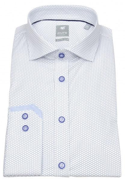 Pure Hemd - Extra Slim - Haikragen - Print - weiß / blau - 4009-700 173