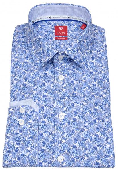 Pure Hemd - Slim Fit - Floraler Print - blau / weiß - 21001-21102 173