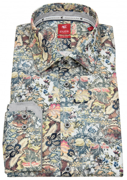 Pure Hemd - Slim Fit - Floraler Print - mehrfarbig - 31021-21104 985