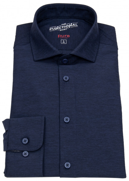 Pure Hemd - Slim Fit - Functional Shirt - Haifischkragen - dunkelblau - 3386-21150 139
