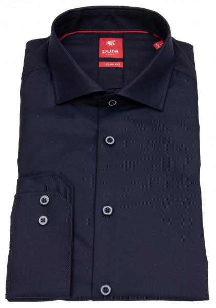Pure Hemd - Slim Fit - Haifischkragen - dunkelblau - 3380 174 130