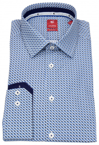 Pure Hemd - Slim Fit - Print - blau / weiß - 21002-21106 173