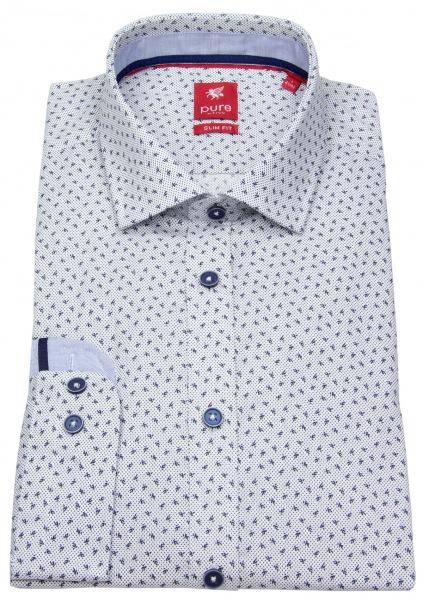 Pure Hemd - Slim Fit - Print - blau / weiß - 4003-190 176