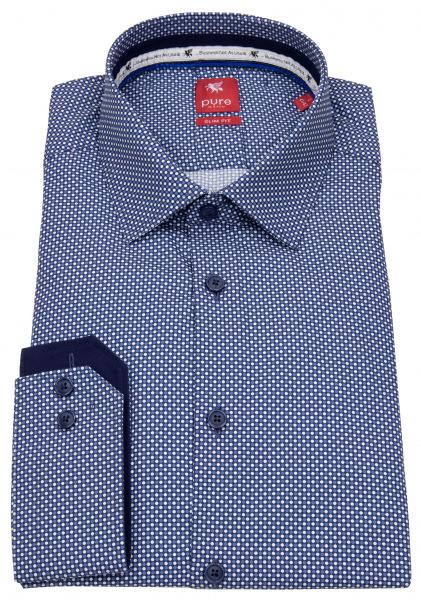 Pure Hemd - Slim Fit - Print - dunkelblau / weiß - 4044-21103 173