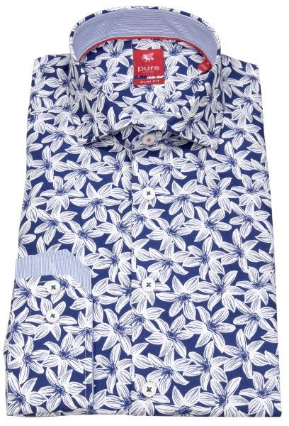Pure Hemd - Slim Fit - Print - dunkelblau / weiß - 91033-21714 178