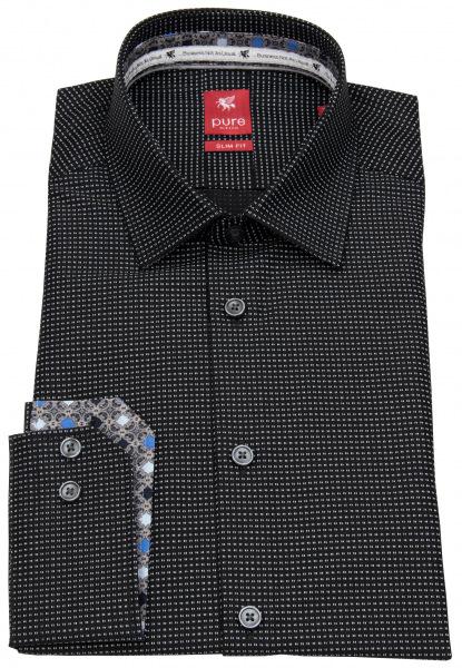 Pure Hemd - Slim Fit - Print - schwarz / weiß - 31013-21104 070