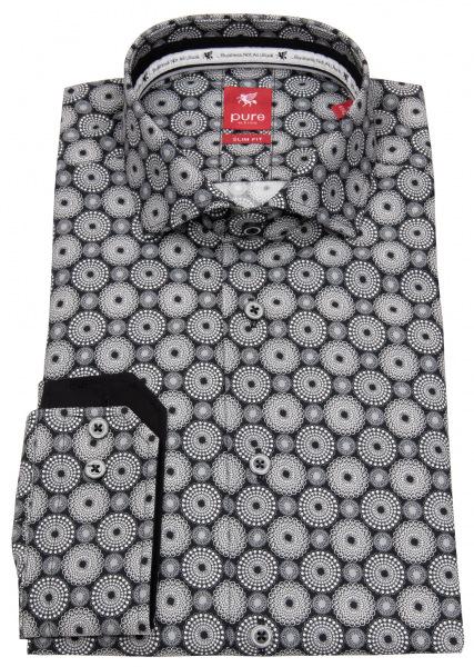 Pure Hemd - Slim Fit - Print - schwarz / weiß - 31028-21703 777