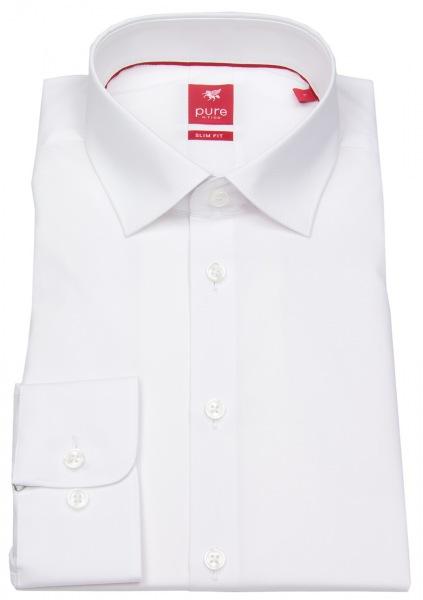 Pure Hemd - Slim Fit Stretch - Kentkragen - weiß - 3355 144 900