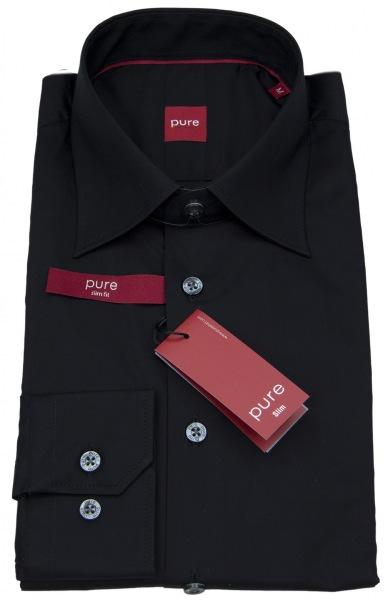 Pure Hemd - Slim Fit Stretch - schwarz - 3355 722 07