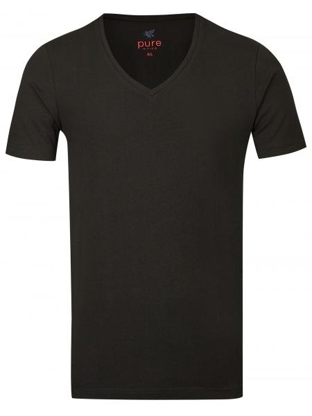 Pure T-Shirt - Slim Fit - V-Ausschnitt - schwarz - 3398-92998 001