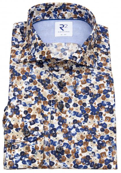 R2-Amsterdam Hemd - Modern Fit - Haifischkragen - floraler Print - mehrfarbig - 112.WSP.054