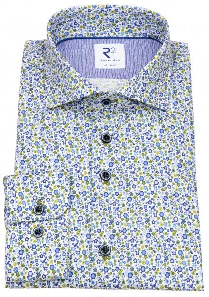 R2-Amsterdam Hemd - Modern Fit - Haifischkragen - floraler Print - mehrfarbig - 112.WSP.085
