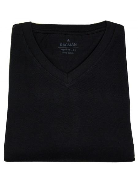 Ragman T-Shirt Doppelpack - V-Ausschnitt - schwarz - 40057 009