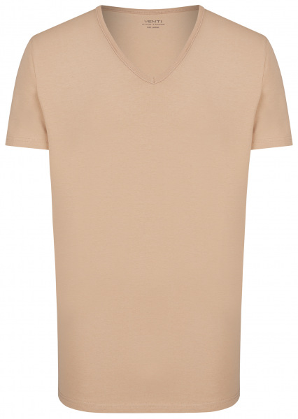 Venti T-Shirt Doppelpack - Modern Fit - V-Neck - caramel - 012600 650